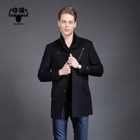 2013 male fashionable casual medium-long quality cashmere trench outerwear