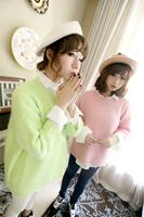 0918 sisters equipment pink rabbit fur wrist-length loose sleeve sweater big