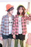 Self-restraint 0822 sisters equipment cotton 100% preppy style plaid slim long-sleeve shirt