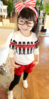 2013 autumn girls child long-sleeve T-shirt 110-140cm basic shirt red blue color princess shirt sweet shirt 4-10years old
