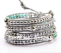 Aliexpress HOT SELL Hand Wrap Leather Bracelets, Wholesale Turquoise Crystal & Buddha Beads Leather Wrap Bracelets Jewelry CL052