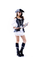 Supernova Selling Halloween pirate ladies' PU leather fashion show uniforms Cosplay Festival Costume Free shipping 8403
