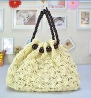 Women's handbag beads portable fan paper rope hook needle straw bag sweet gentlewomen