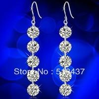 925 pure silver earring female long design fashion earrings crystal tassel drop earring free shipping