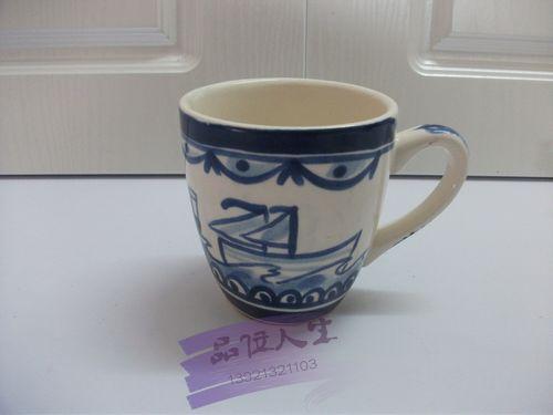 Blond hand painting ceramic dinnerware blue mug cup black tea cup fashion rustic(China (Mainland))
