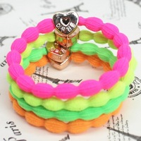 Wholesale Metal buckle crown rubber band elastic head bands fluorescent candy color hair accessories ring rope chiristmas gift