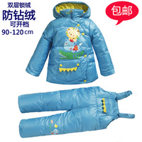 Children's clothing winter child down coat set baby thermal twinset cartoon down bib pants  ,free shipping