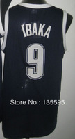 Free Shipping,Cheap Sale 2013 New Arrive Discount Promotion #9 Serge Ibaka Black blue Basketball jersey,Embroidery logos