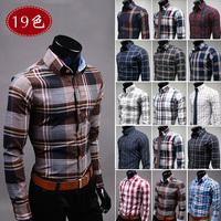man spring 2014 men's clothing slim plaid shirt casual male 100% cotton long-sleeve plaid shirt,mens dress shirts