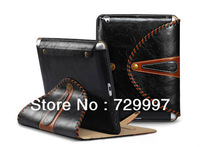New 360 Rotating Stand Rugby Handmade Luxury Deluxe Fashion Leather Case Cover Skin Bag Hold For iPad Mini Free Shipping Hotsale