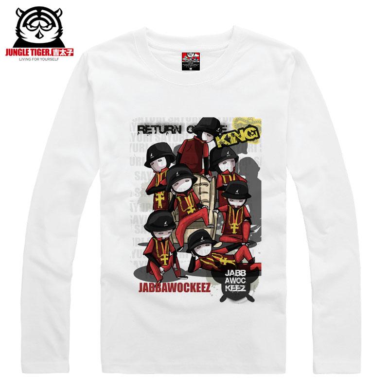 America Hip hop dancer cute cartoon mask jabbawockeez long-sleeve T-shirt men's shirt male basic top causal clothing(China (Mainland))