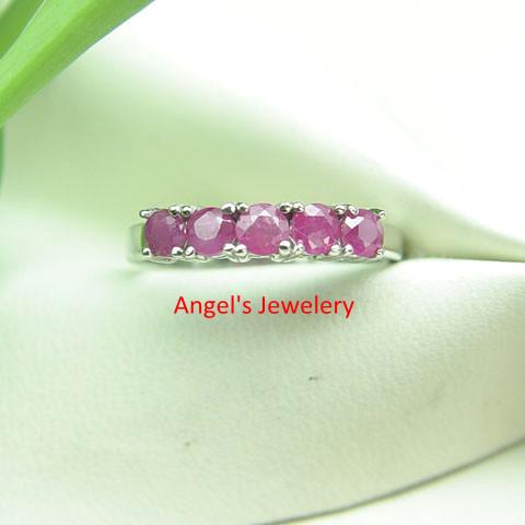 ring 925 zilveren ringen, fijne robijn edelsteen ring met 5 stuks
