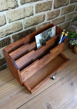 Zakka vintage retro wool finishing bookshelf newspaper rack with drawer storage wooden box 1kg