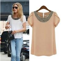 S-XXXXL!! EU 2014 New fashion women Loose Big size chiffon casual vintage Blouses/Beading O-neck,Pullover summer costume shirts