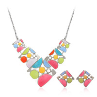 New arrival fashion accessories geometry caiyou patchwork necklace female short design chain accessories