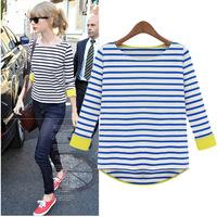 13 fashion female doll fresh stripe 100% cotton long-sleeve T-shirt plus size basic shirt