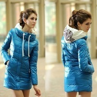 New Arrival winter long design slim Down & Parkas cotton-padded jacket with hood women winter outerwear  Free Shipping