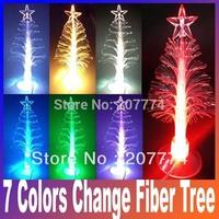 7 colors change USB optic Fiber Mini PVC Led Christmas Tree light & cupula Decoration,Christmas gift Free Shipping
