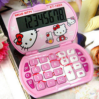 New Cute Pink Hello Kitty Foldable Pocket Basic Electronic Calculator 8 Digitals Free Shipping