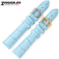 Genuine leather watchband light blue watch band 14 16 18 19 20 22mm women's watchband strap