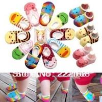Newborn Baby Socks Summer Anti slip animal carters Indoor socks for boys and girls 10pairs/lot cheap