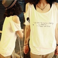 2013 summer women's top sexy strapless skull loose short-sleeve T-shirt female