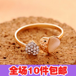 0898 accessories fashion double heart full rhinestone - eye open ring finger ring