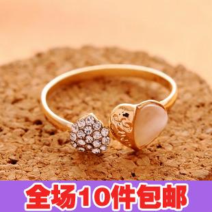 0898 accessories fashion double heart full rhinestone - eye open ring finger ring