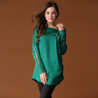 Spring women's fashion lace patchwork loose plus size casual silk long-sleeve shirt top
