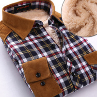 men's autumn and winter clothing thermal shirt male thickening plus velvet slim fashion patchwork plaid long-sleeve shirt
