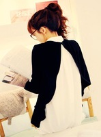Autumn white shirt female long-sleeve chiffon faux two piece sweater