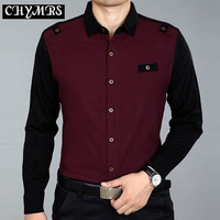 2013 autumn commercial casual male shirt long-sleeve shirt commercial patchwork wool lining clothes