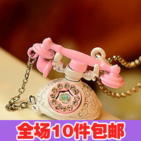 1293 fashion vintage sparkling diamond old fashioned antique telephone necklace