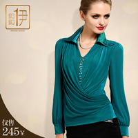 High quality shirt plus size clothing autumn long-sleeve 1360 elegant slim long design women's chiffon shirt sweater