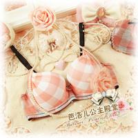 Plaid - royal gem pendant young girl women's push up underwear bra set