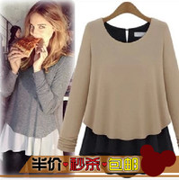 2013 autumn women's lace basic loose long-sleeve shirt female long design Women basic t-shirt