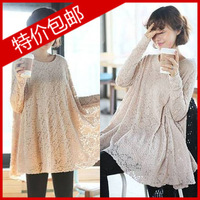 2013 autumn o-neck loose plus size sweep lace long-sleeve shirt one-piece dress long design basic shirt female