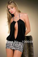 sexy lingerie leopard&black open front dress+g string 2pcs set sleepwear underwear costume kimono uniform