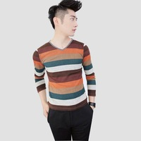 Male male slim long-sleeve T-shirt V-neck stripe men's clothing basic shirt