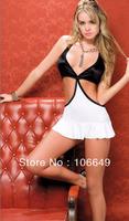 sexy lingerie white&black silk teddy dress+g string 2pcs set sleepwear underwear costume kimono uniform