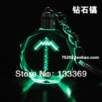 Free shipping Anime minecraft keychain 5 color LED keychain minecraft sword keychain led
