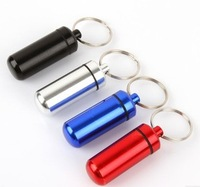 Free Shipping 10Pcs/Lot First aid pill bottles belt keychain portable small kit waterproof aluminum alloy tank life-saving 10g
