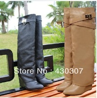 Turn over leather women fashion boots hot selling Brand Black/Red knee boots 2013 latest style Newly