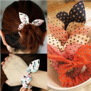 1 pcs/lot 2013 popular hair accessory Rabbit fabric headband hair accessory brief band dot small headband(China (Mainland))