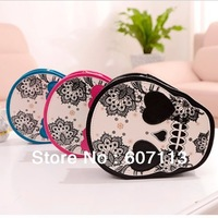 Free shipping 2pcs/lot 2013 hot Women lady novel skull coin Shoulder bag PU messenger bag