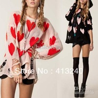 Womens Ladies Love Heart Printed Hollow Jumper Hole Cardigan Long Sleeve knit Sweater Pullover o