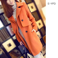 2013 autumn and winter wool coat women's slim cashmere woolen outerwear female long woolen coat overcoat y2236