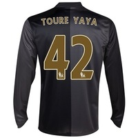 Hot 13/14 Manchester City away #42 Yaya Toure Long Sleeve Jerseys Black Soccer Uniform 2013-14 Cheap football kit free shipping