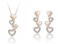 2013 Fashion 18K Platinum Plated Heart Design Jewelry Set Made With Austria Crysatal,Free Shipping