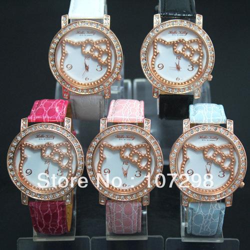 Hello kitty diamond watch for women(China (Mainland))
